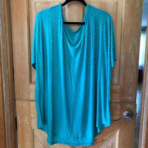 Embellished Turquoise Stretchy Blouse sz 3X